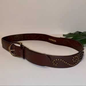 Express Brown Genuine Leather Belt w/ Gold Accents